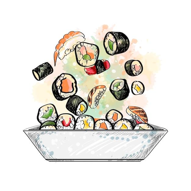 和食メニュー。菜食主義者は、水彩のスプラッシュから設定、手描きのスケッチ。塗料のイラスト Premiumベクター