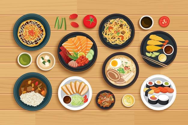 トップビューの木製の背景に日本食。 Premiumベクター