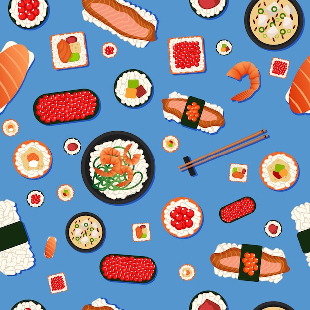 Japanese food seamless pattern sushi Premium Vector