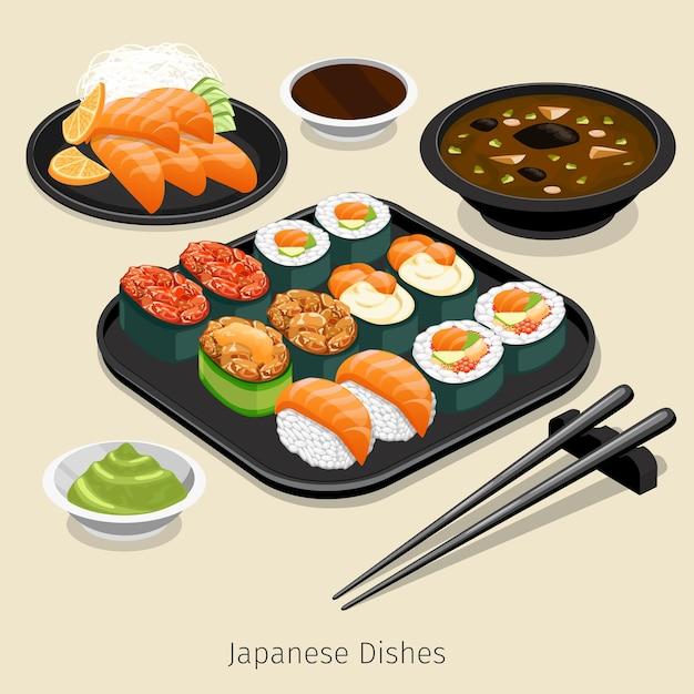 Набор японской кухни. вкусное меню, рис и ролл, ингредиенты и соус, Бесплатные векторы