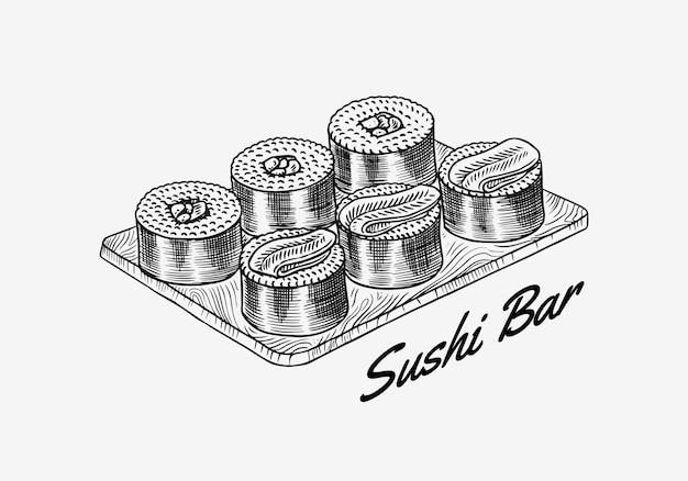 日本食。寿司バーまたはロールパンセット。アジア料理レストランのベクトルイラスト。手描きの刻印 Premiumベクター
