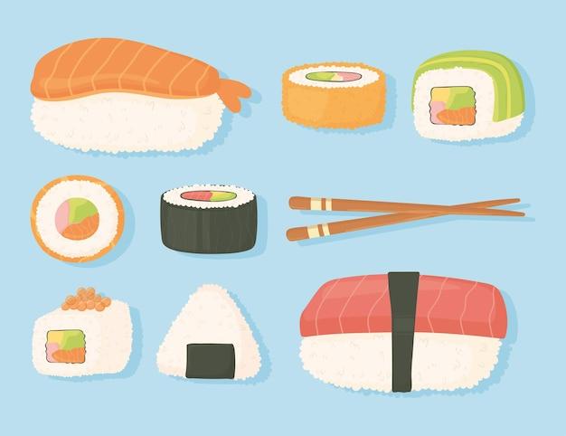 Японская еда традиционные свежие суши и палочки для еды дизайн иллюстрация Premium векторы