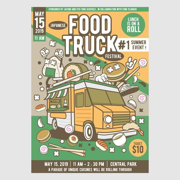 Japanese food truck festival Vector   Premium Download