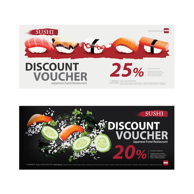 Japanese food voucher discount template vector illustration Premium Vector
