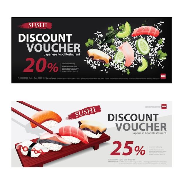 Japanese food voucher discount template vector illustration Premium Vector