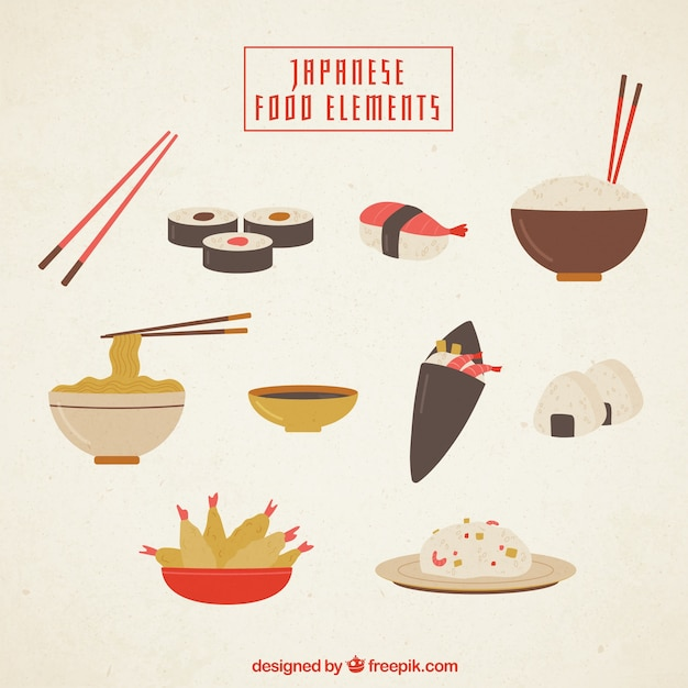 Japanese food with flat elements