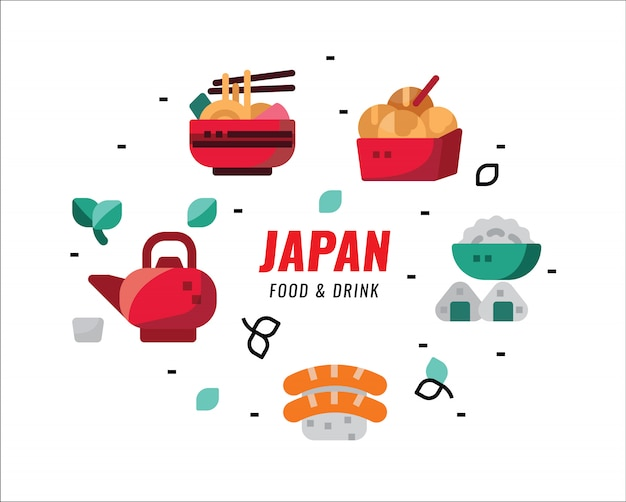 Japanese foods and drinks. flat design elements. vector illustration Premium Vector
