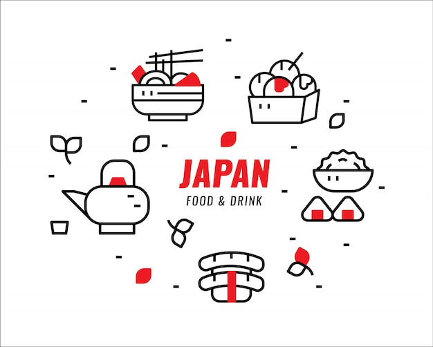 Japanese foods and drinks. thin line design elements. vector illustration Premium Vector