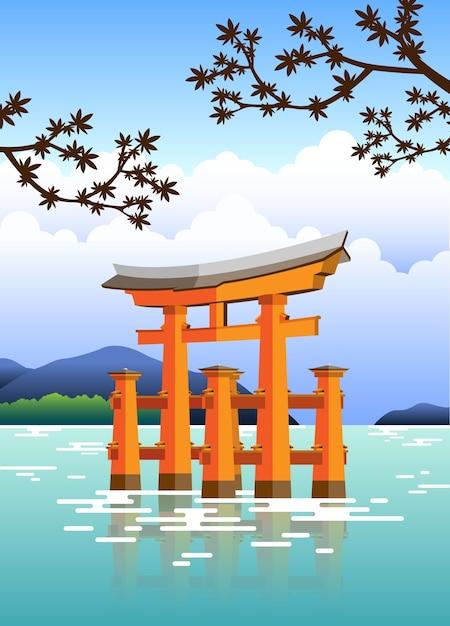 물과 나무가있는 일본 문 도리 프리미엄 벡터