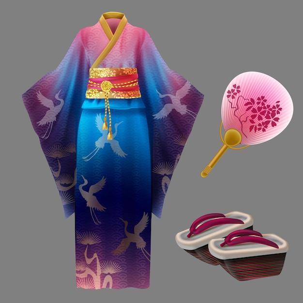 日本の芸者のドレスとアクセサリー 無料ベクター