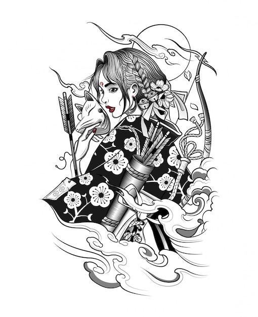 Японская гейша в лисьей маске с оружием Premium векторы