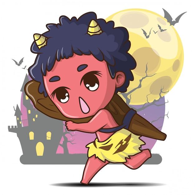 Японский гигант призрак мультфильм бытовой божество японской народной религии концепции хэллоуина Premium векторы