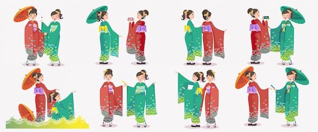 Japanese girl set. japanese women kimono dressing national dress. emotions and gestures of japan retro style. Premium Vector