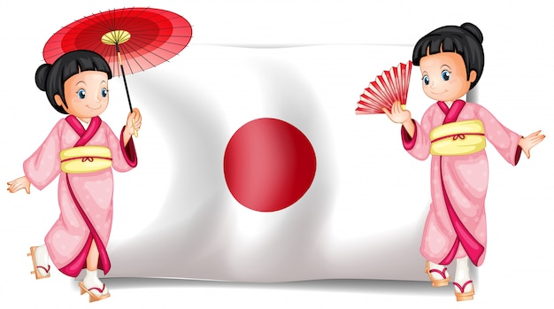 Japanese girls and flag Free Vector