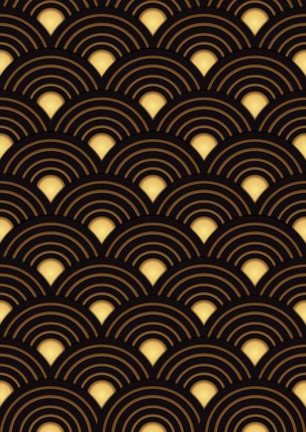 Japanese gold pattern design Premium Vector