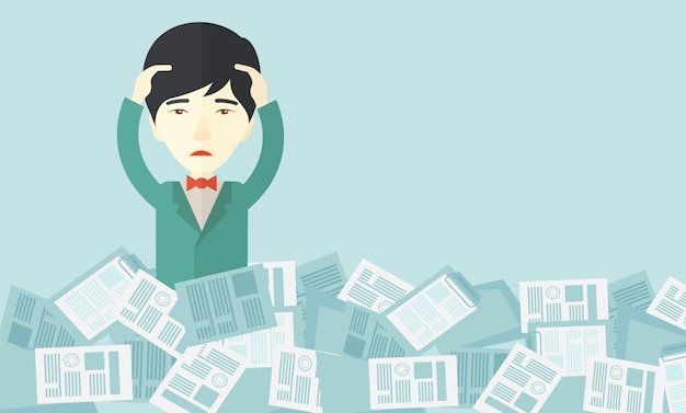 紙を持った日本人の男が彼の周りで働いています。 Premiumベクター