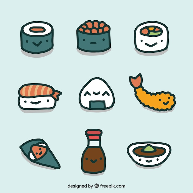Japanese Hand Drawn Food Collection Premium Vector