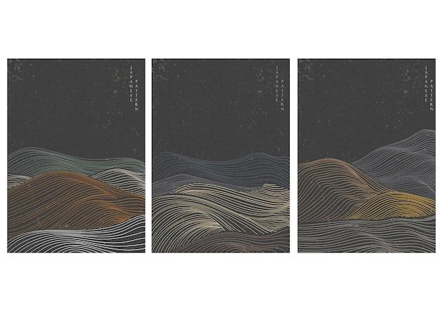 일본 손으로 그린 추상 배경으로 웨이브 패턴. 오리엔탈 스타일의 곡선 요소. 프리미엄 벡터