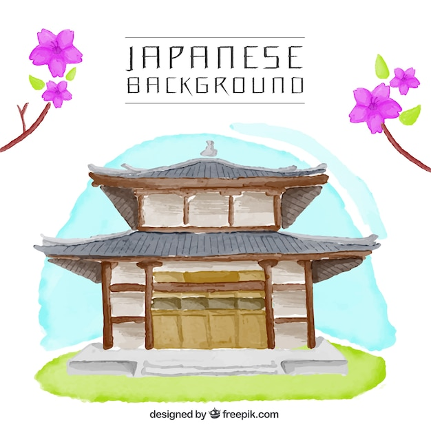 Japanese house watercolor background vector free download for Maison traditionnelle japonaise materiaux