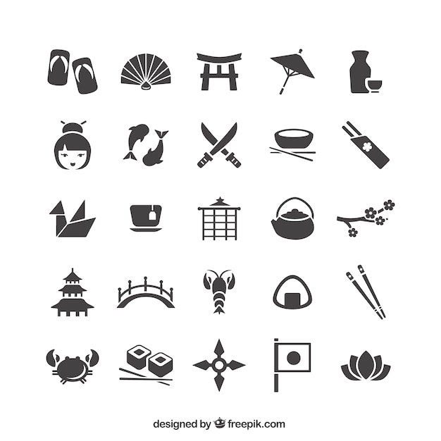 Japanese Icons Collection Vector Free Download - Japan map vector free download