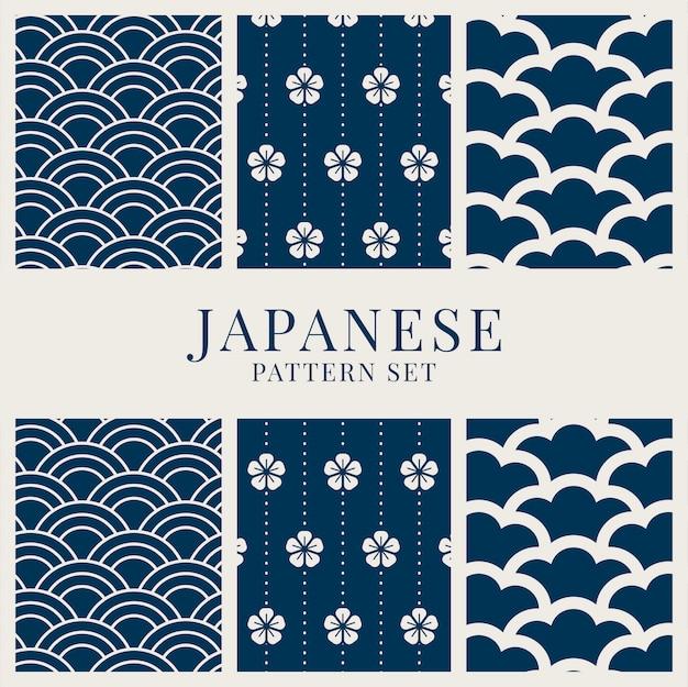 Set di motivi di ispirazione giapponese Vettore gratuito