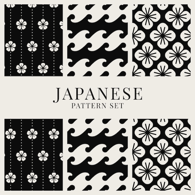 Japanese-inspired pattern vector set Free Vector