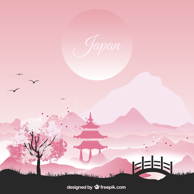 Japanese landscape in pink tones Free Vector