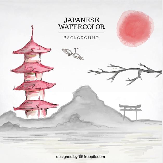 Japanese landscape watercolor background