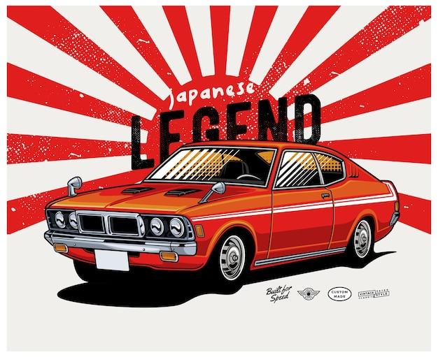 Japanese legend classic car Premium Vector
