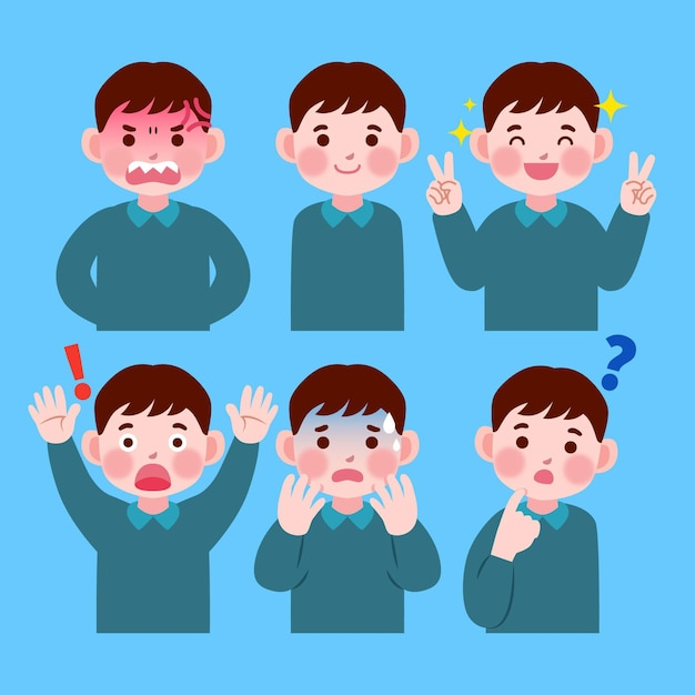 Japanese man showing different emotions Free Vector