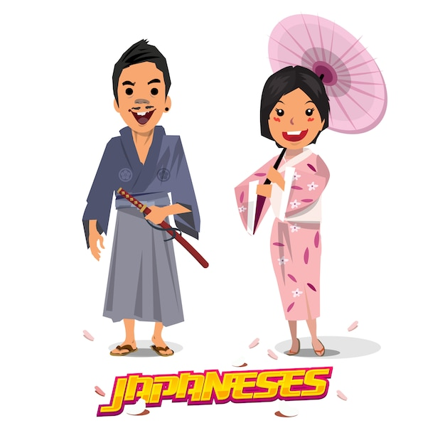 Japanese man and women in traditional uniform. Premium Vector