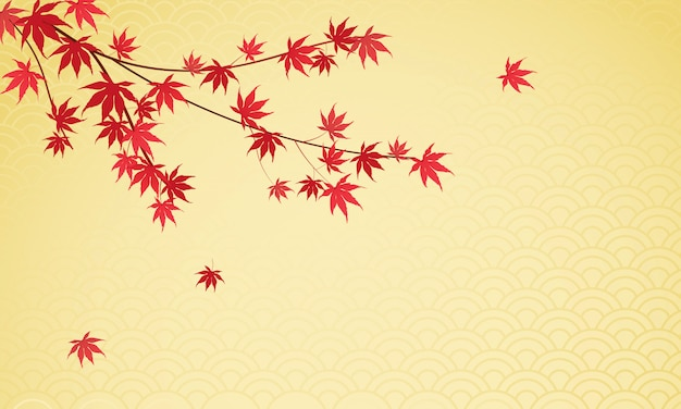 Japanese maple leaves background Premium Vector