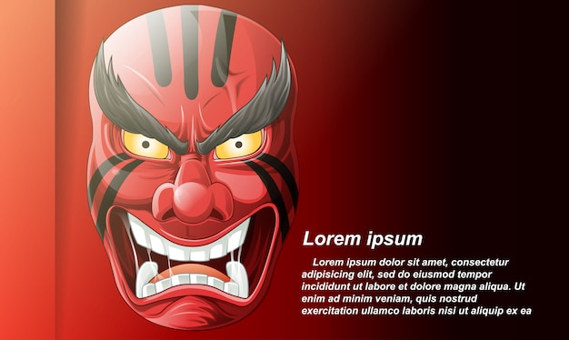 Japanese mask in cartoon style. Premium Vector