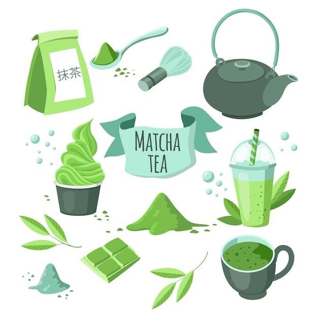 Японский порошок зеленого чая матча. надпись на японском языке - matcha. Premium векторы
