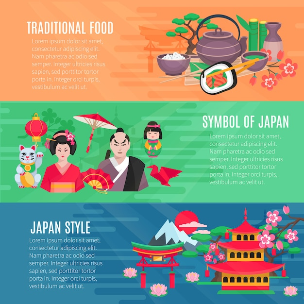 Japanese national symbols traditional food and lifestyle information 3 flat horizontal banners Free Vector