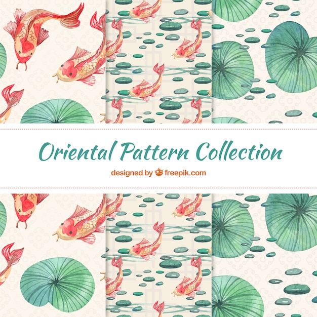 Japanese nature patterns Free Vector