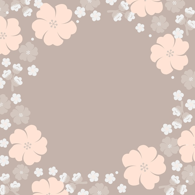 Japanese pastel flowers frame Free Vector