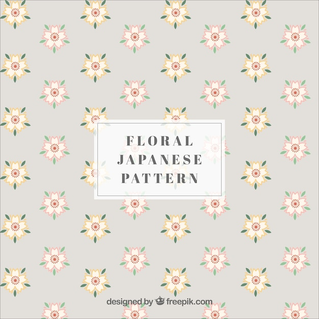 Japanese pattern with flowers Free Vector