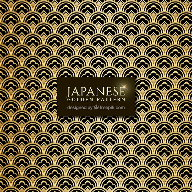 Japanese pattern with golden abstract shapes Vector | Free