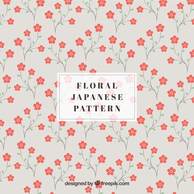 Japanese pattern with red flowers Free Vector