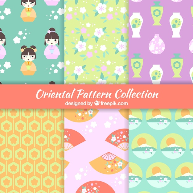 Japanese Patterns Collection Vector Free Download