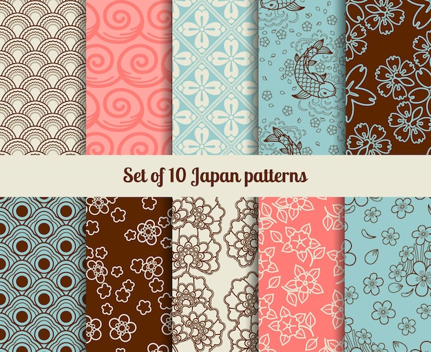 Japanese patterns Premium Vector