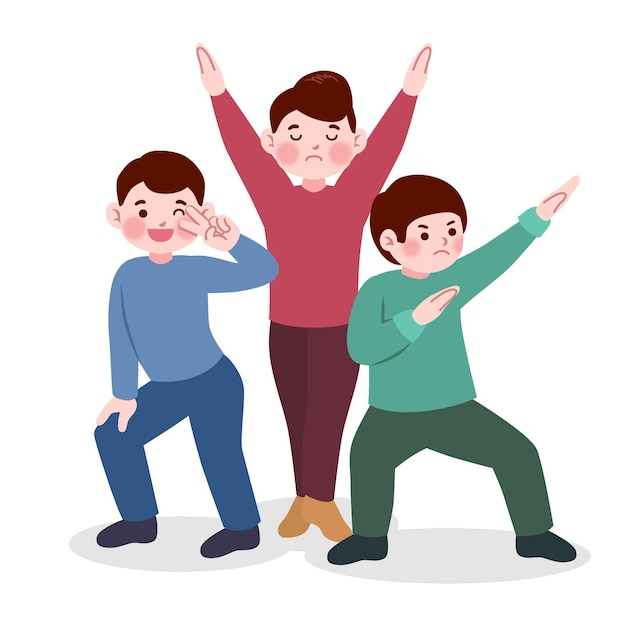 Japanese people with funny poses Free Vector
