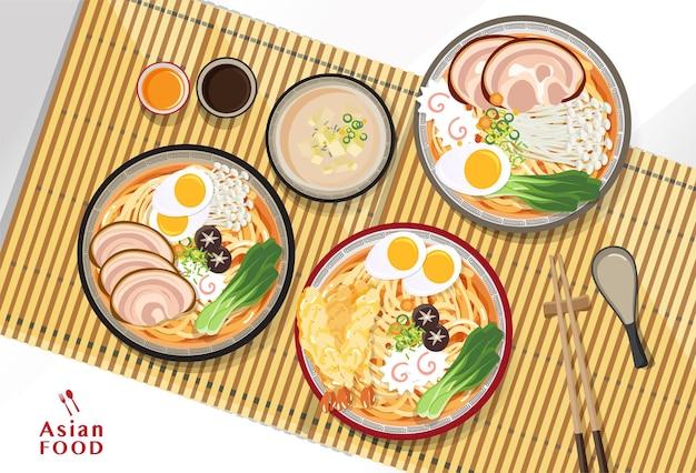 日本のラーメン、伝統的なアジアのヌードルスープ、イラスト。 Premiumベクター