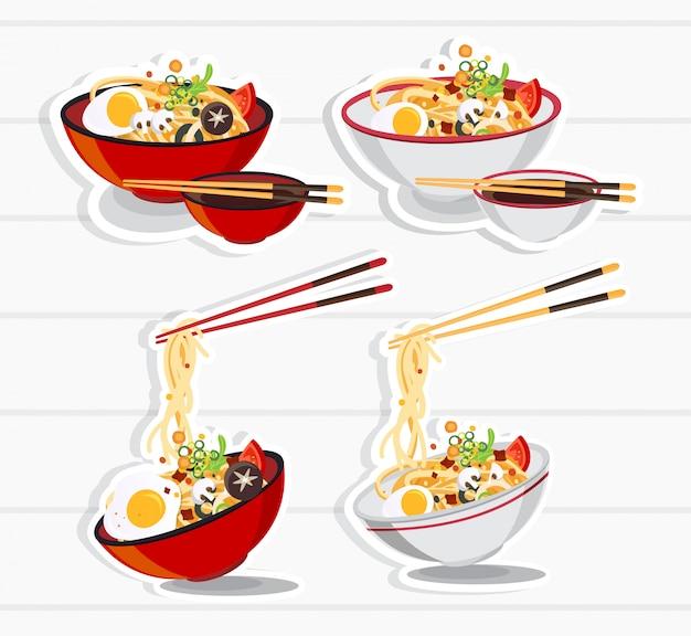 ボウルに日本のラーメン、中華丼アジアンフードイラストのヌードルスープ Premiumベクター
