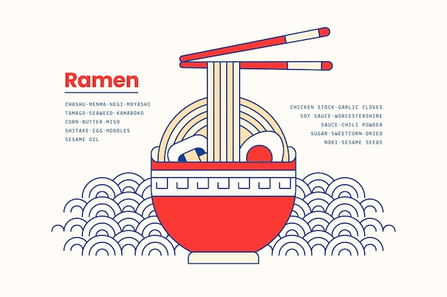 Japanese ramen soup food in bowl background Free Vector
