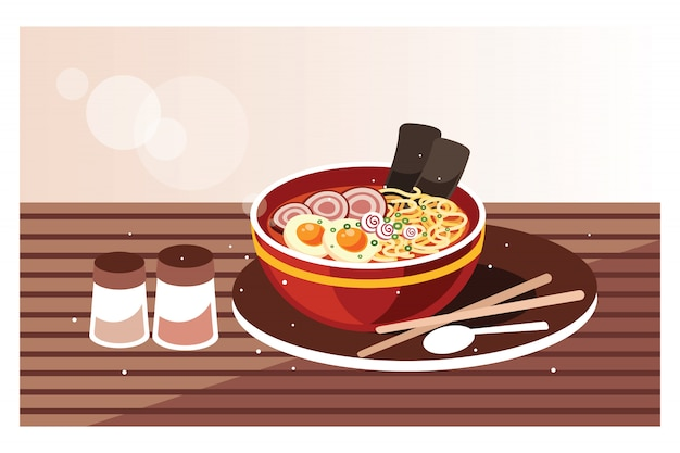 Japanese ramen soup with chicken, egg  and chives Premium Vector