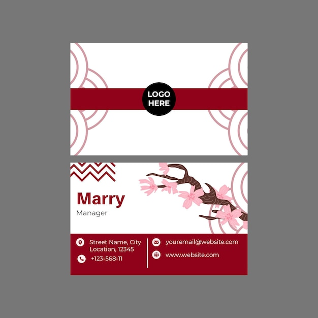 Japanese restaurant business card double-sided Free Vector
