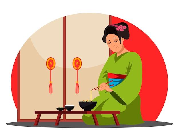 Японский ресторан, персонажная женщина ест лапшу и встает из чашки Premium векторы