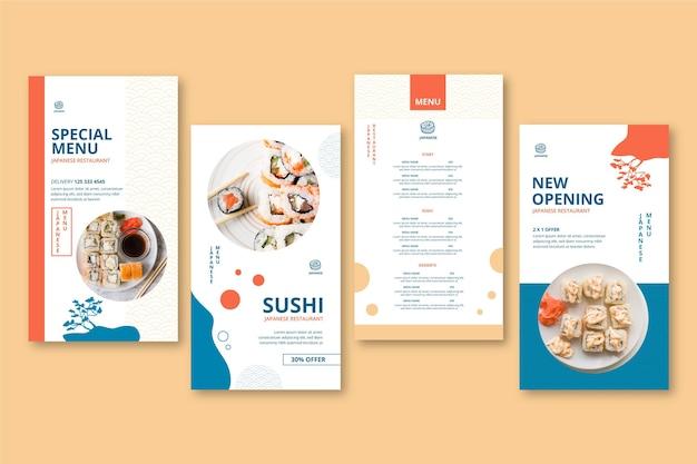 Japanese restaurant instagram stories Free Vector